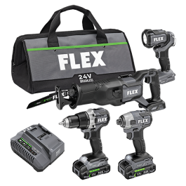 DRILL DRIVER, IMPACT DRIVER, RECIPROCATING SAW AND WORK LIGHT KIT