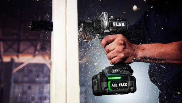 """FLEX ½"""" 2-Speed Drill Driver with Turbo Mode in use"""